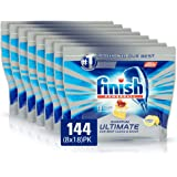 Finish Quantum Ultimate Lemon Dishwasher Tablets 144 Tablets, (8 x 18 pack), Lemon Sparkle