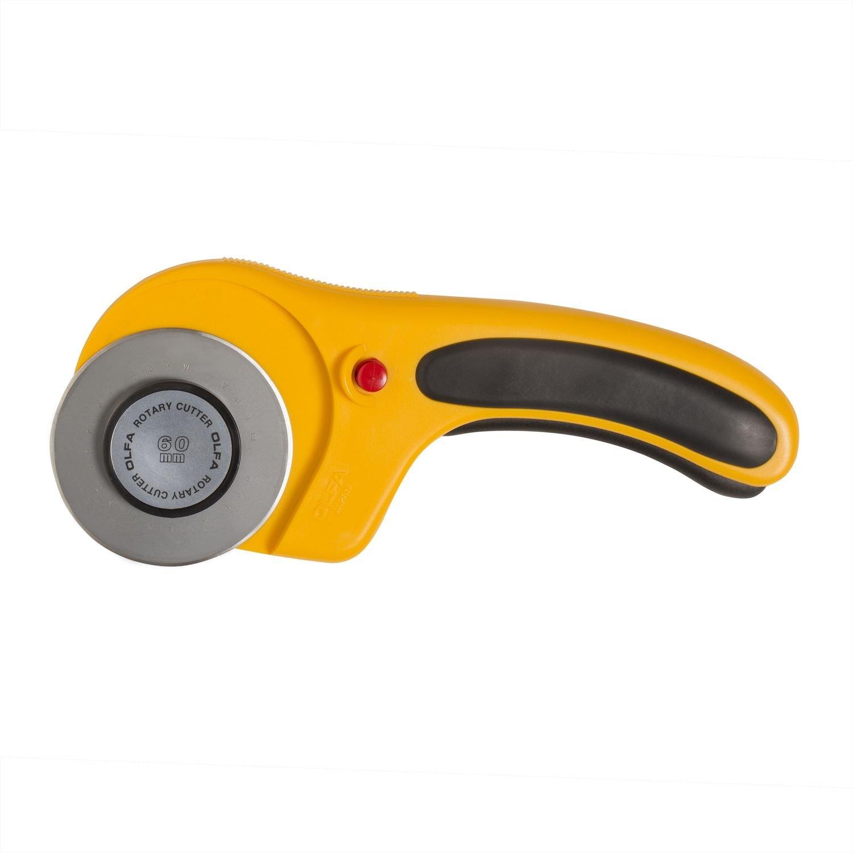 Cortador giratorio OLFA Deluxe de 60 mm, negro y amarillo