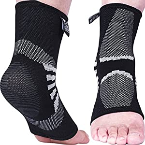 Ankle Compression Sleeves (1 Pair) - Support for Injury Recovery & Prevention - 1 Year Warranty (Grey, Large)