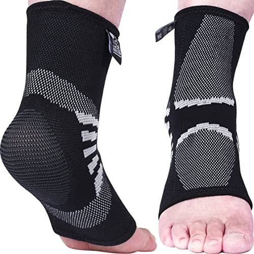 Nordic Lifting Ankle Compression Sleeves (1 Pair) - Support for Injury Recovery & Prevention - 1 Year Warranty
