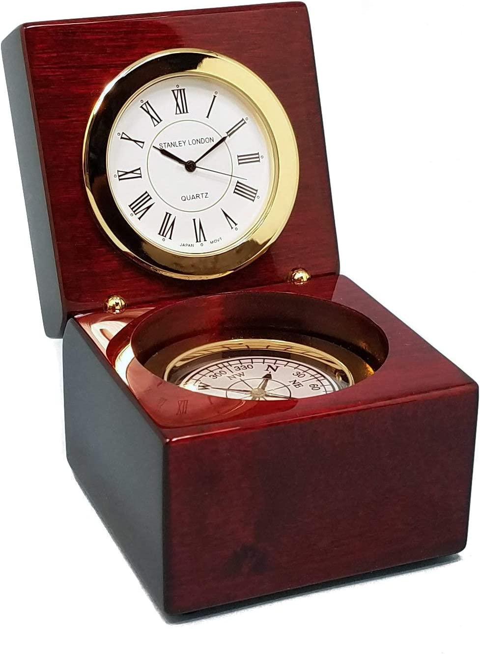 Stanley London Engravable Executive Navigator Desk Clock and Compass