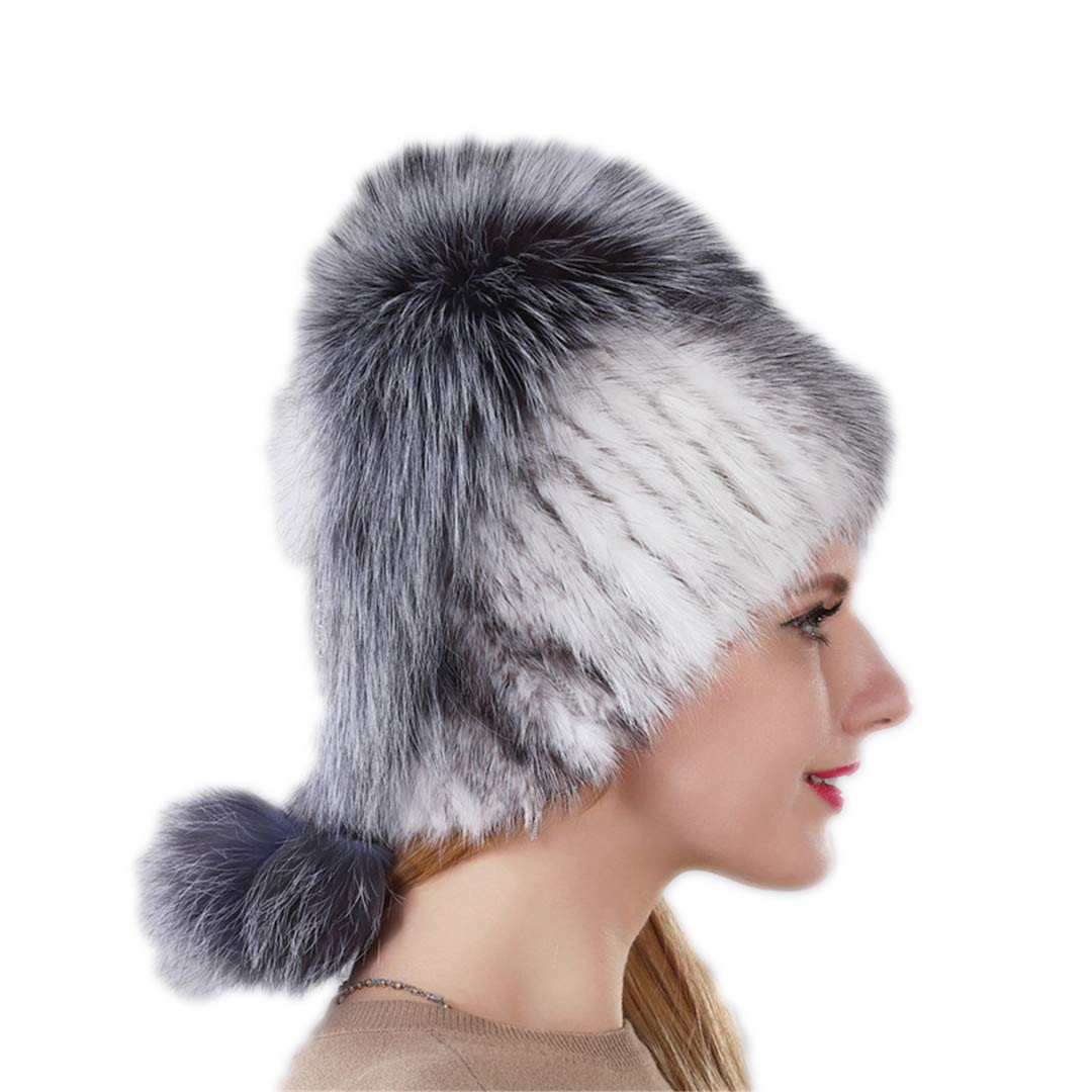 Design Hat Real Natural Mink Fur Hat With Silver Fox Fur Cap For Women With Hanging Chain In The Back Fur Balls 003