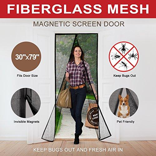 Magnetic Screen Door Curtains Durable Fiberglass Mesh Full
