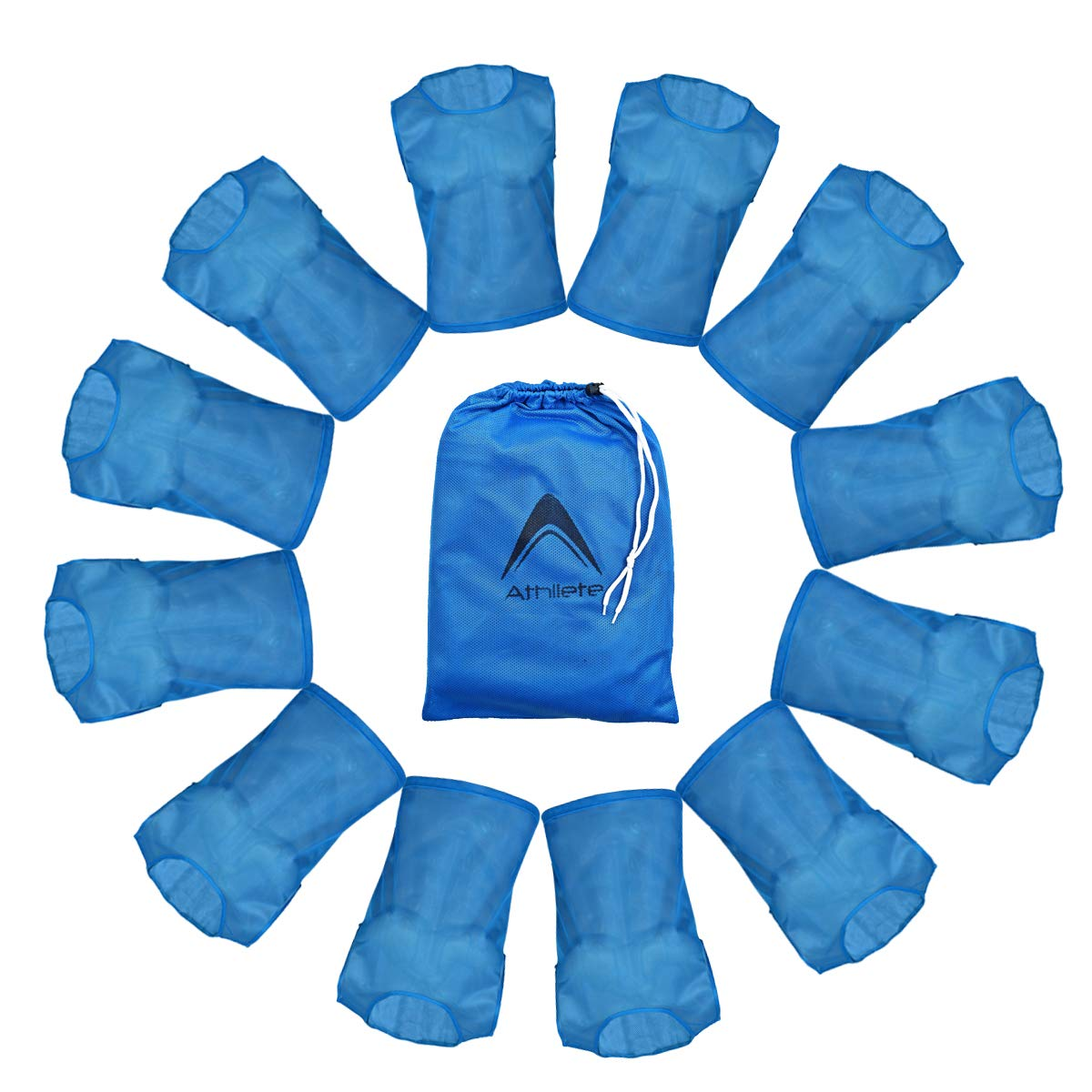 Athllete Set of 12 - Child Scrimmage Vests/Pinnies/Team Practice Jerseys with Free Carry Bag (Azure Blue, Small)