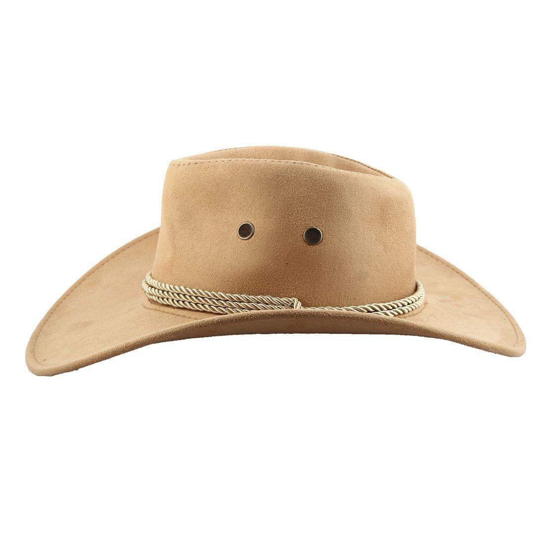 sourcing map Sombrero Cowboy Gorro Falsos Ante Correa para El Cuello Ajustable De ala Ancha Al Estilo Occidental Beige