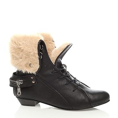 64e4a32e8dbc Ajvani Damen Winter Warm Schnalle Schnüren Fell Stulpe Stiefeletten Schuhe  Größe 4 37