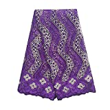 WorthSJLH African French Net Lace Fabric with Stones Tulle Lace 5 yards LF813 (purple)