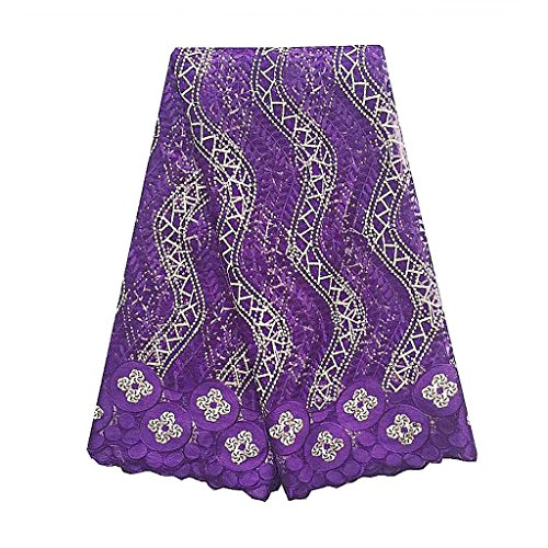 WorthSJLH African French Net Lace Fabric with Stones Tulle Lace 5 yards LF813 (purple) by WorthSJLH