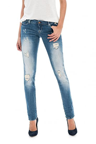 e8b971842427 Salsa Push Up Effect Ripped Jeans with Premium wash - Shape Up Blue   Amazon.co.uk  Clothing