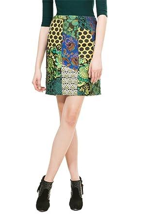 Desigual Falda - trapecio - para mujer multicolor 38: Amazon.es ...