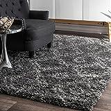 nuLOOM Soft and Plush Iola Moroccan Shag Rug, 6' 7' x 9', Grey