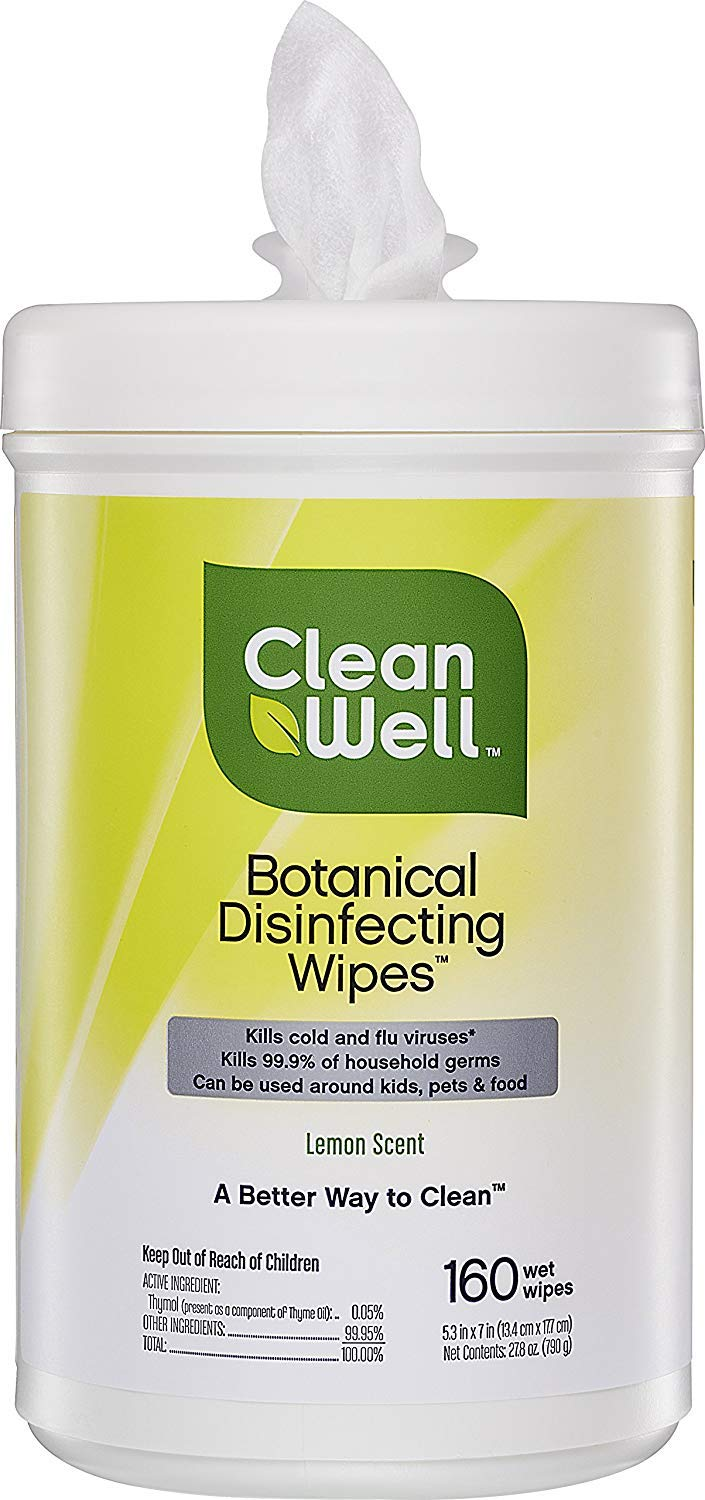CleanWell Botanical Disinfecting Wipes - Lemon Scent, 160 Count by Cleanwell (Image #2)
