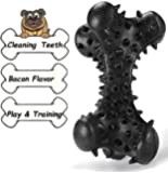 i-FSK Dog chew Toys for Aggressive Chewer Large Breed,Durable Indestructible Dog Bone Toys Rubber Bacon Flavor, Medium Pet Toy Long Lasting for Training Cleaning Teeth
