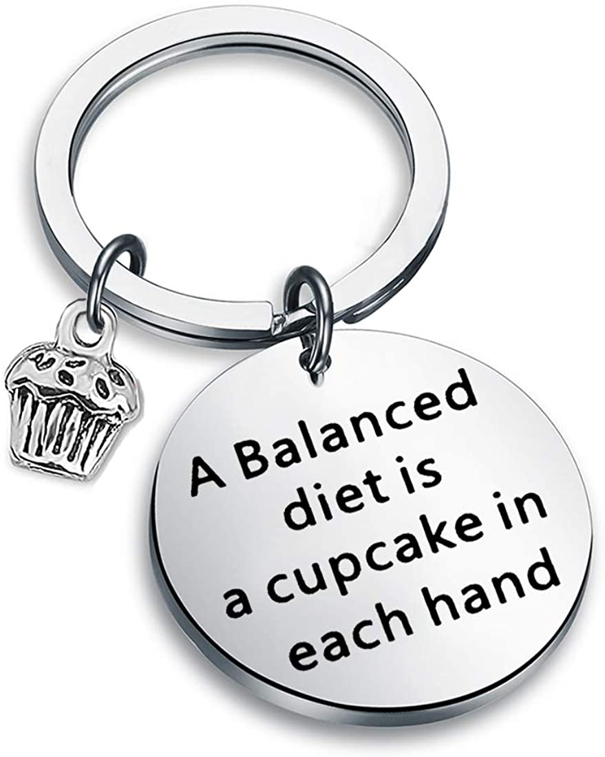 Amazon Com Zuo Bao Bodybuilding Jewelry Funny Fitness Gift Weight Loss Motivation A Balanced Diet Is A Cupcake In Each Hand Keychain Gym Jewelry Gift For Men Women A Balanced Diet Keychain Jewelry