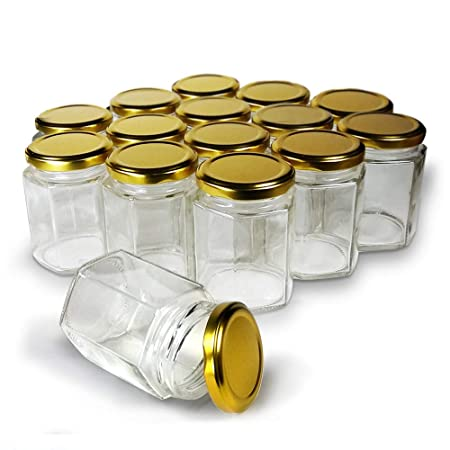 Hexagon Jars Gold Lid (15pcs, 6.0 Oz) Hexagon Glass Jars With Gold Plastisol Lined Lids For Jam Honey Jelly Wedding Favors Baby Shower Favors Baby Food Diy Magnetic Spice Jars Crafts Canning Jars by Cross Homes