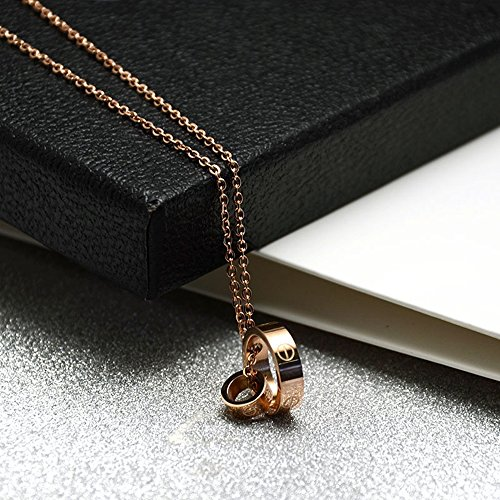 Fire Ants Love Necklaces - Women's Lucky Fashion Eternal Double Ring Necklace (Rose Gold-A) by Fire Ants (Image #5)
