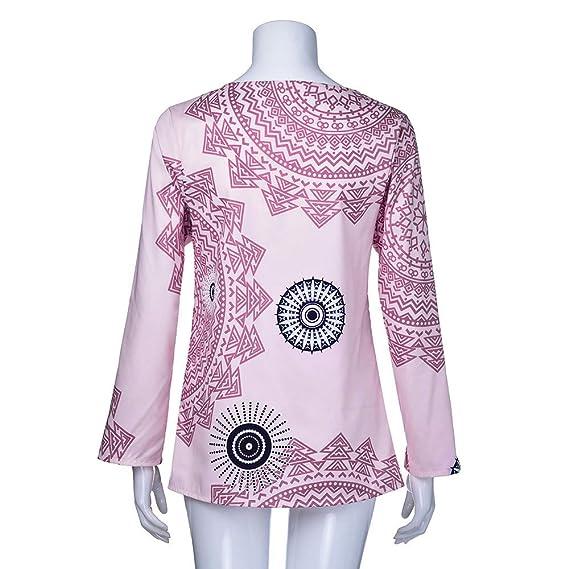 Otoño de Moda Mujeres Tops Las señoras Imprimen Las Camisetas Manga Larga Casual Blusa con Cuello O ❤ Manadlian: Amazon.es: Ropa y accesorios