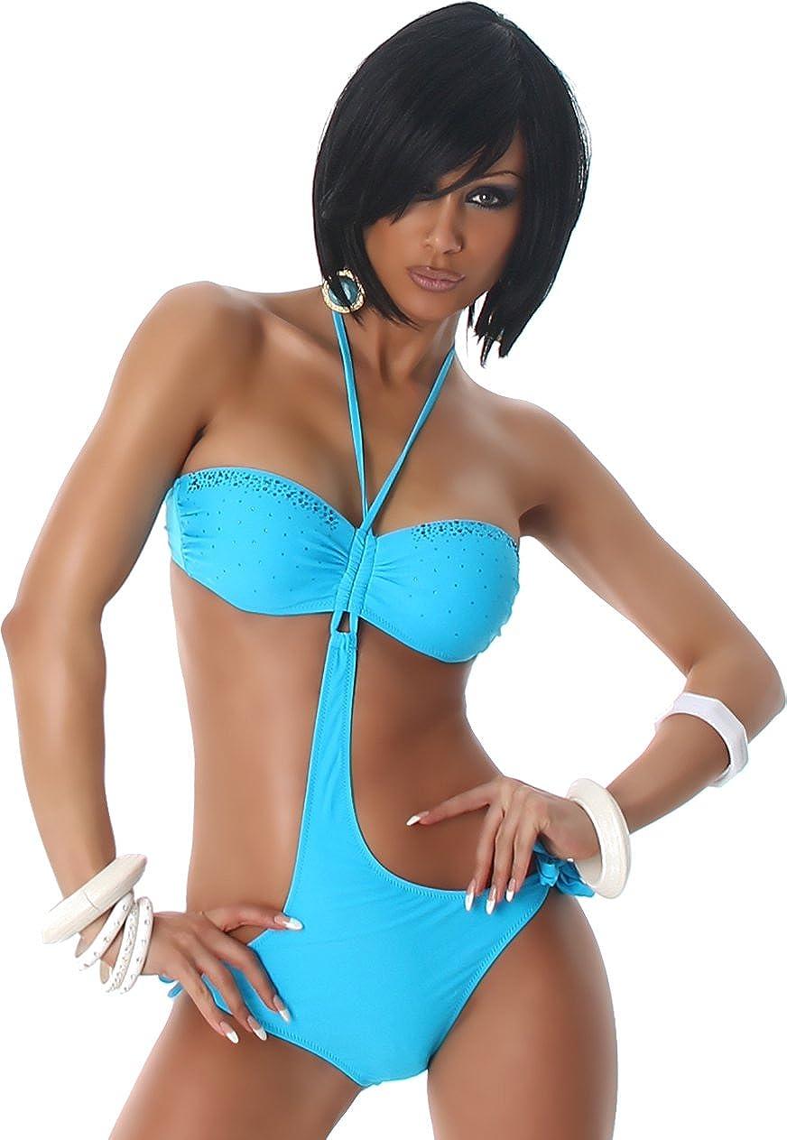 Donne a fascia di Monokini Bikini imbottito tazze strass Halter