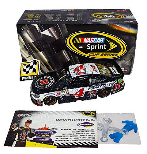 (AUTOGRAPHED 2015 Kevin Harvick #4 Jimmy Johns LAS VEGAS WIN (Raced Version with Confetti) BLOWN TIRE Stewart-Haas Signed Lionel 1/24 NASCAR Diecast Car with COA (#0511 of only 1,717 produced!) )