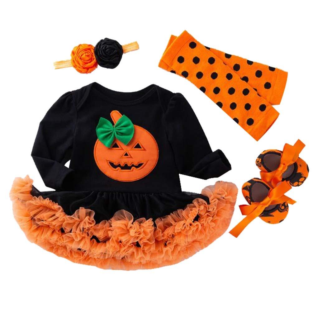 LvRao Baby Girls 4pcs Pumpkin Pattern Outfits 1st Halloween Costume Skirted Romper Tutu Dress Leggings Headband Shoes