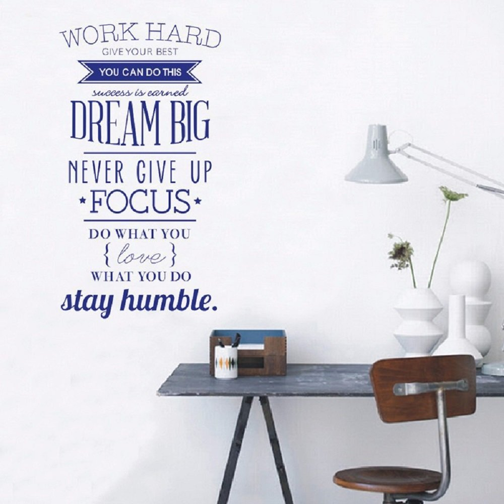 Amaonm Removable Vinyl Quotes Work Hard, Never Give up Wall Décor Stickers Lettering Saying Inspirational art Decor Murals for Home Walls Offices Nursery Room Kids Bedroom Classroom (Blue) by Amaonm