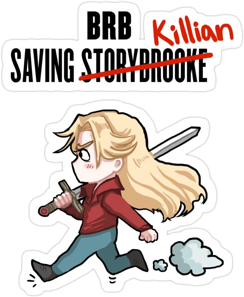 Jess-Sha Store 3 PCs Stickers BRB - Saving Killian, Once Upon a time Sticker for Laptop, Phone, Cars, Vinyl Funny Stickers Decal for Laptops, Guitar, Fridge