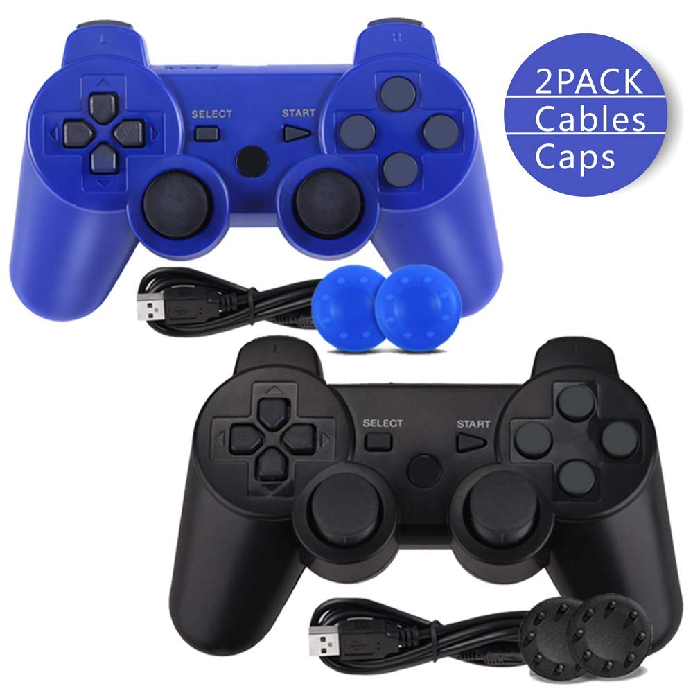 PS3 Controller, Wireless Bluetooth Gamepad Double Vibration Six-Axis Remote Joystick for Playstation 3 with Charging Cord (2-Pack)