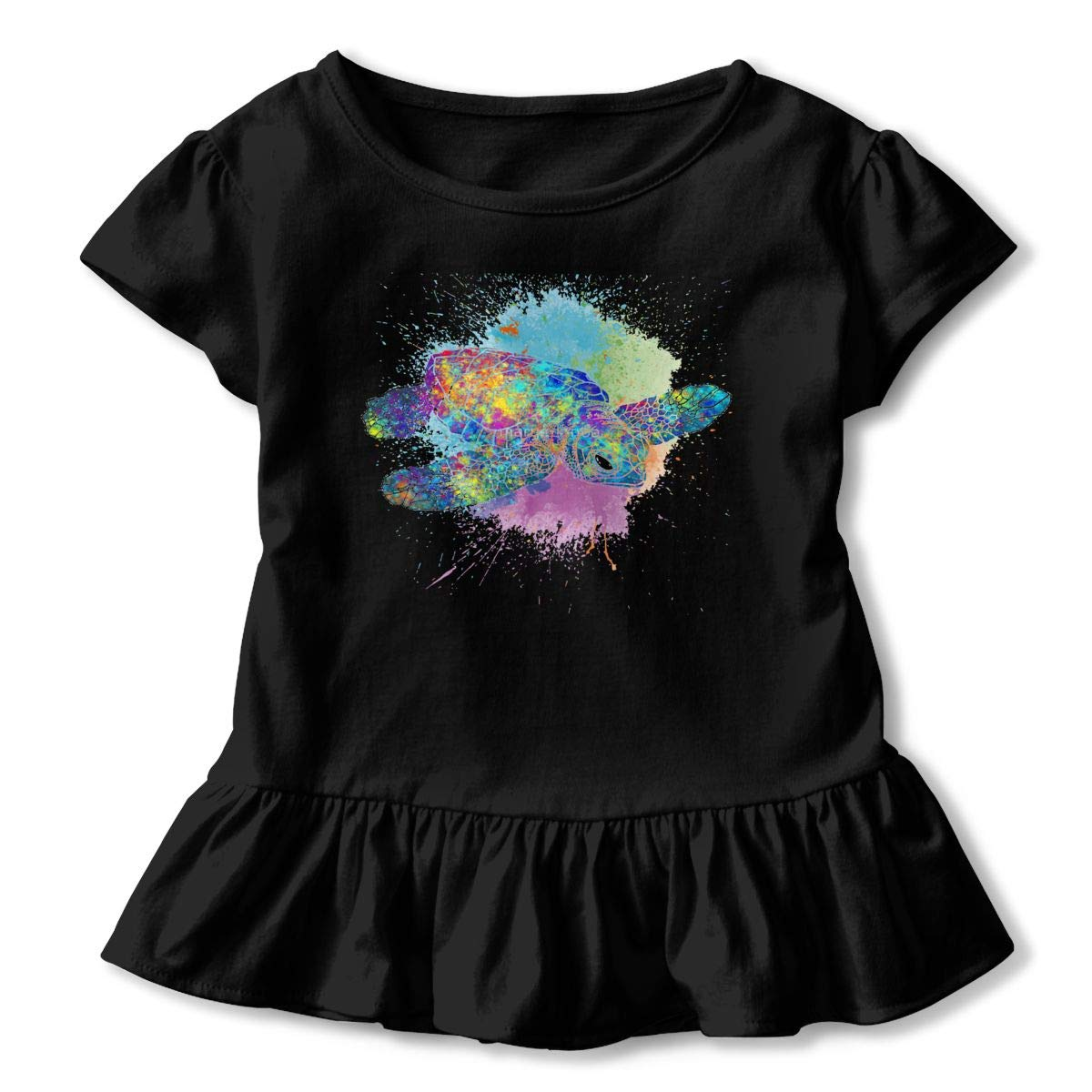 CZnuen Watercolor Splash Love Turtles 2-6T Baby Girls Cotton Jersey Short Sleeve Ruffle Tee