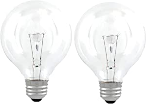 GE Classic 60-Watt Crystal Clear Dimmable G25 Decorative Incandescent Light Bulb 2 Pack