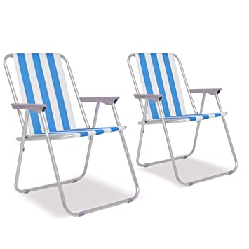 Festnight- 2 Sillas de Playa de Camping Plegables Azul Blanco 52x62x75 cm