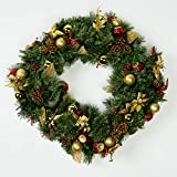 Mr. Light 24'' Pre-Lit Decorated Wreath with Gold Balls, 35 Steady Warm White LEDs with Timer and Outdoor Battery Box