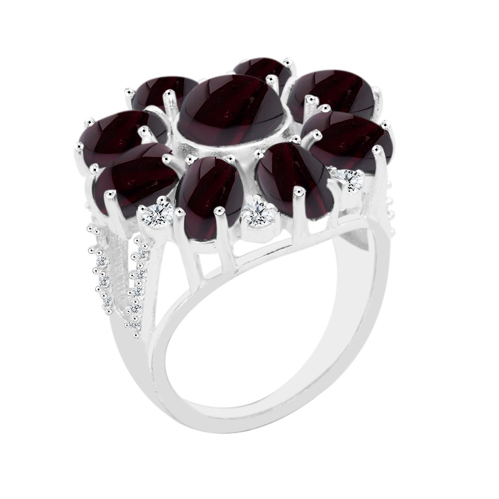 10.10ct, Genuine Cabochon Garnet 8x8mm Round & Silver Plated Fashion Ring (Size-9)