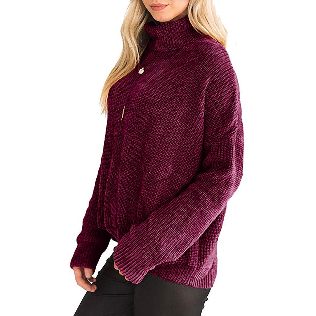 Women Casual Irregular Solid Long Sleeve Turtleneck Knitted Sweater Top Autumn Fashion Womens 2019 Red by Letdown_Women Hoodies