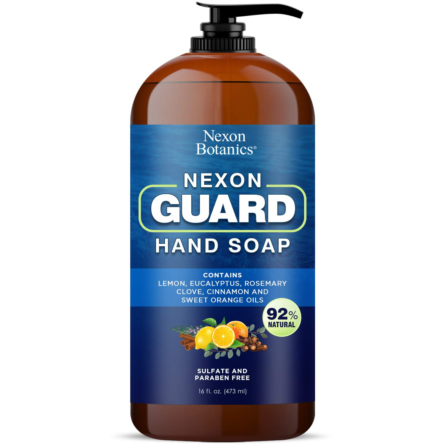 Nexon Botanics Robbers Guard Hand Soap 16 fl oz - Made in USA - Based on French Thieves Formula - Deep Cleansing and Purifying Hand Wash - Gentle and Moisturizing - Liquid Hand Soap : Beauty