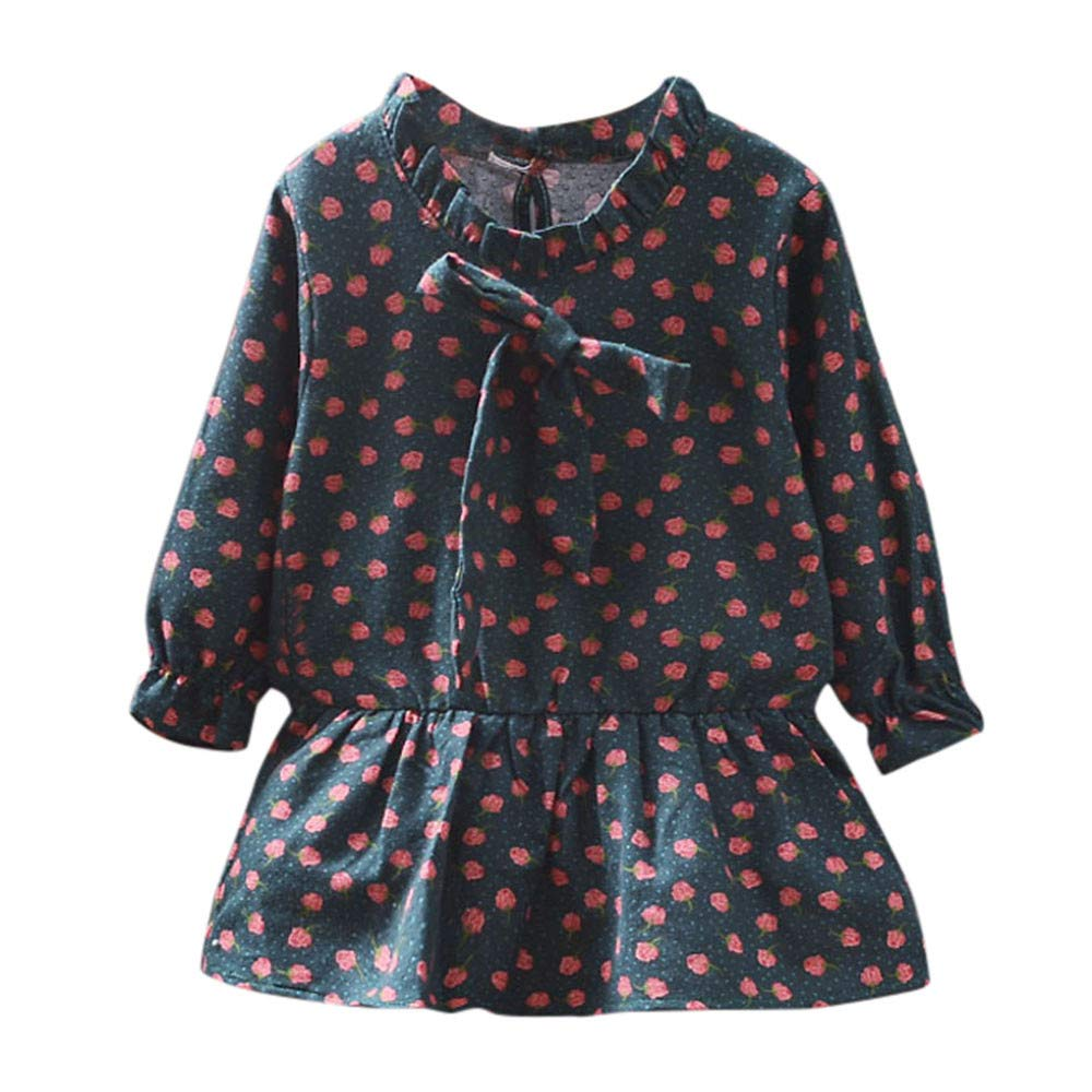 KONFA Toddler Baby Girl Floral Ruffles Dress,for 0-3 Years,Little Princess Long Sleeve Skirt Fall Winter Clothes