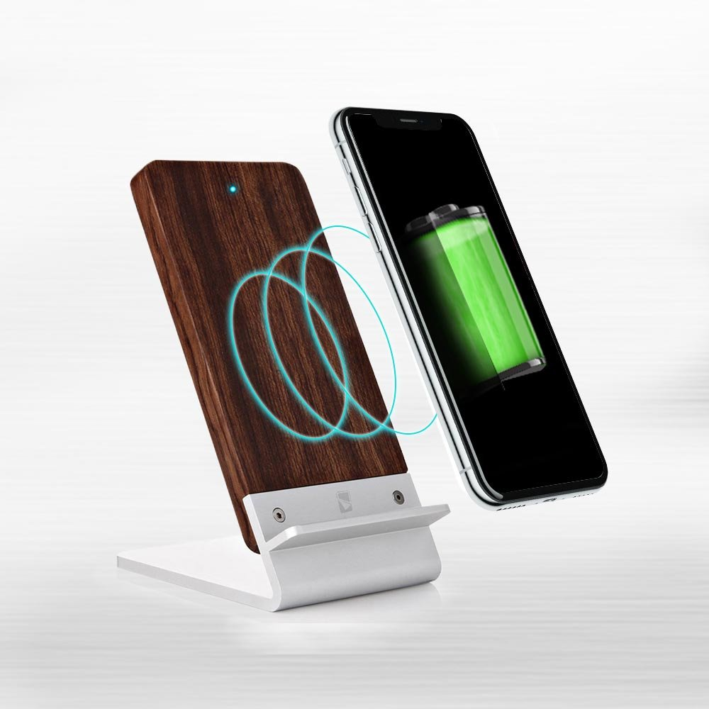 Wood Wireless Charger for Samsung Galaxy S4 / S5 / S6 Active - [FAST CHARGE] COOPER ECOSTAND Wireless Charging Stand | Qi Wireless Charger Stand | Nightstand, Desk, Office (Aluminium & Rosewood) Cooper Cases COP042BLK050-002