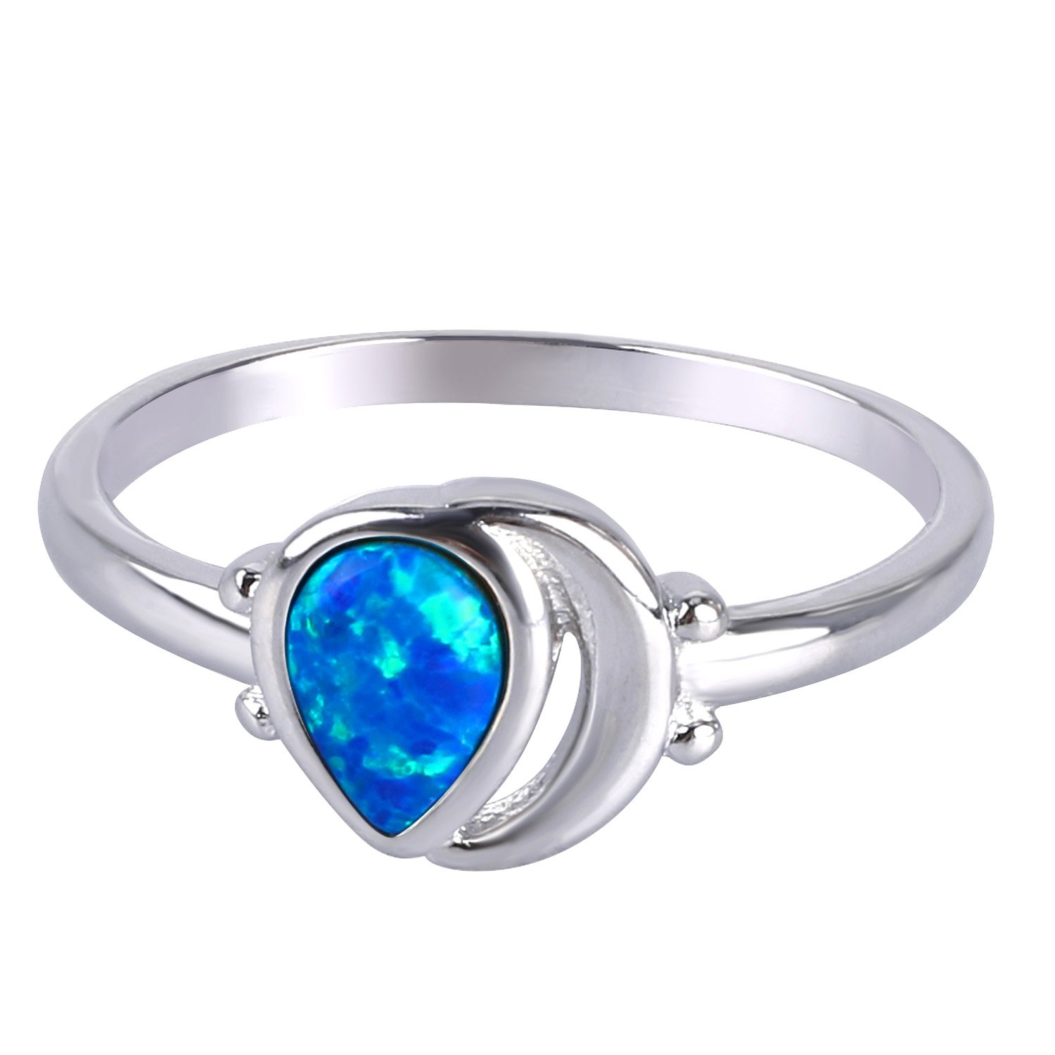 KELITCH Teardrop Created Opal Multistone Rings Inlay Moon Silver Plated Band Rings Dainty Women Gifts (silver-plated-bronze Blue, 7)