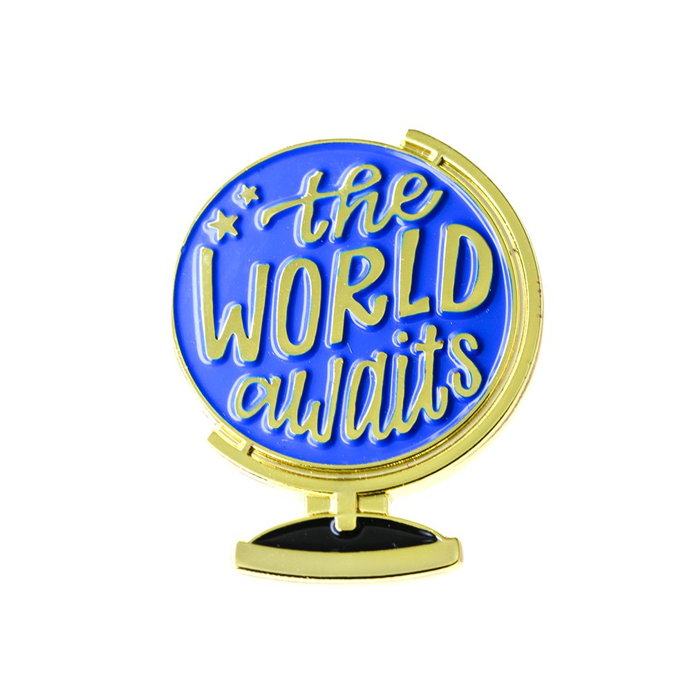 Ms. Clover Travel Enamel Pin The World Awaits Adventure Brooch, Going Away Gift for Friend Travel Gifts.