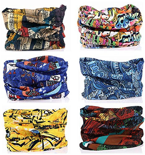 (SmilerSmile 6pcs Assorted Seamless Outdoor Sport Bandanna Headwrap Scarf Wrap, 12 in 1 High Elastic Magic Headband & Collars Muffler Scarf Face Mask with UV Resistance,(Style 04))