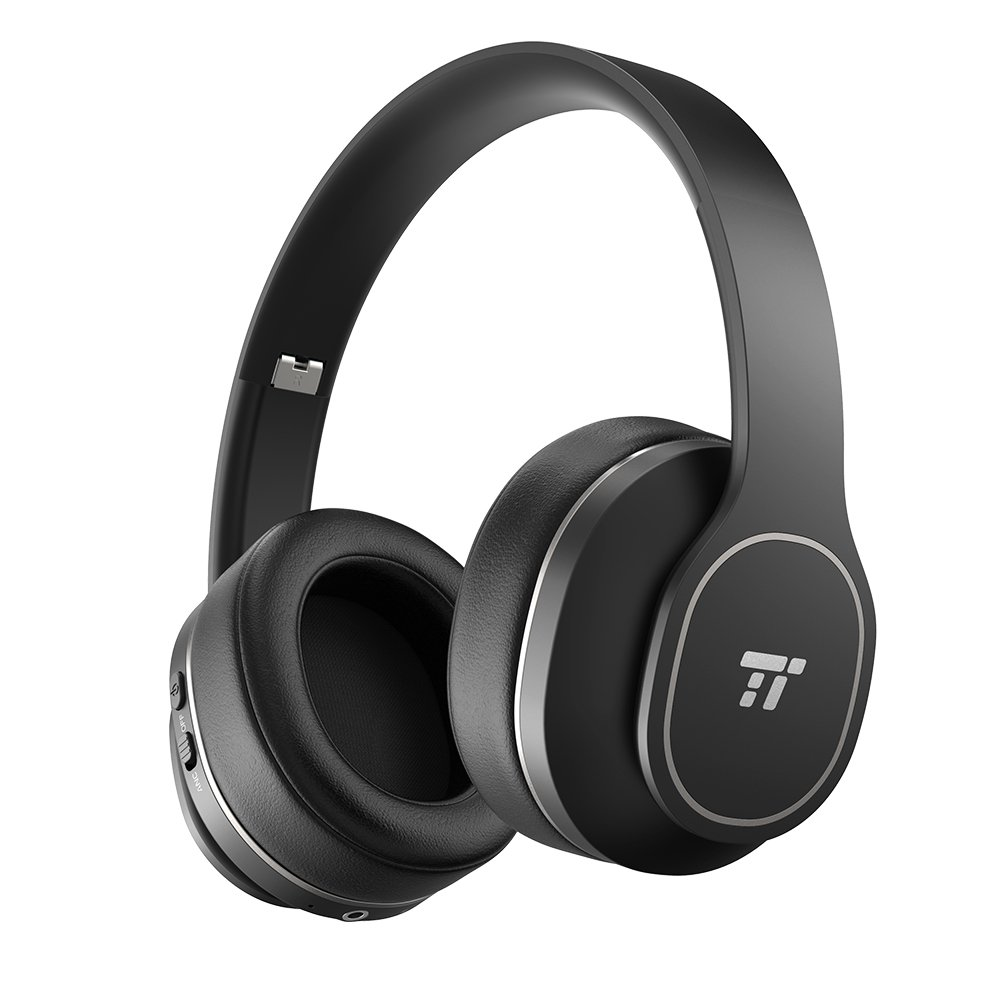 TaoTronics Active Noise Cancelling Bluetooth Headphones, TaoTronics Over Ear Wireless Headset Durable Over Ear Headphones Soft Protein Ear Pads & 24 Hour Playtime, Foldable, CVC 6.0 Noise Cancelling Mic TT-BH047