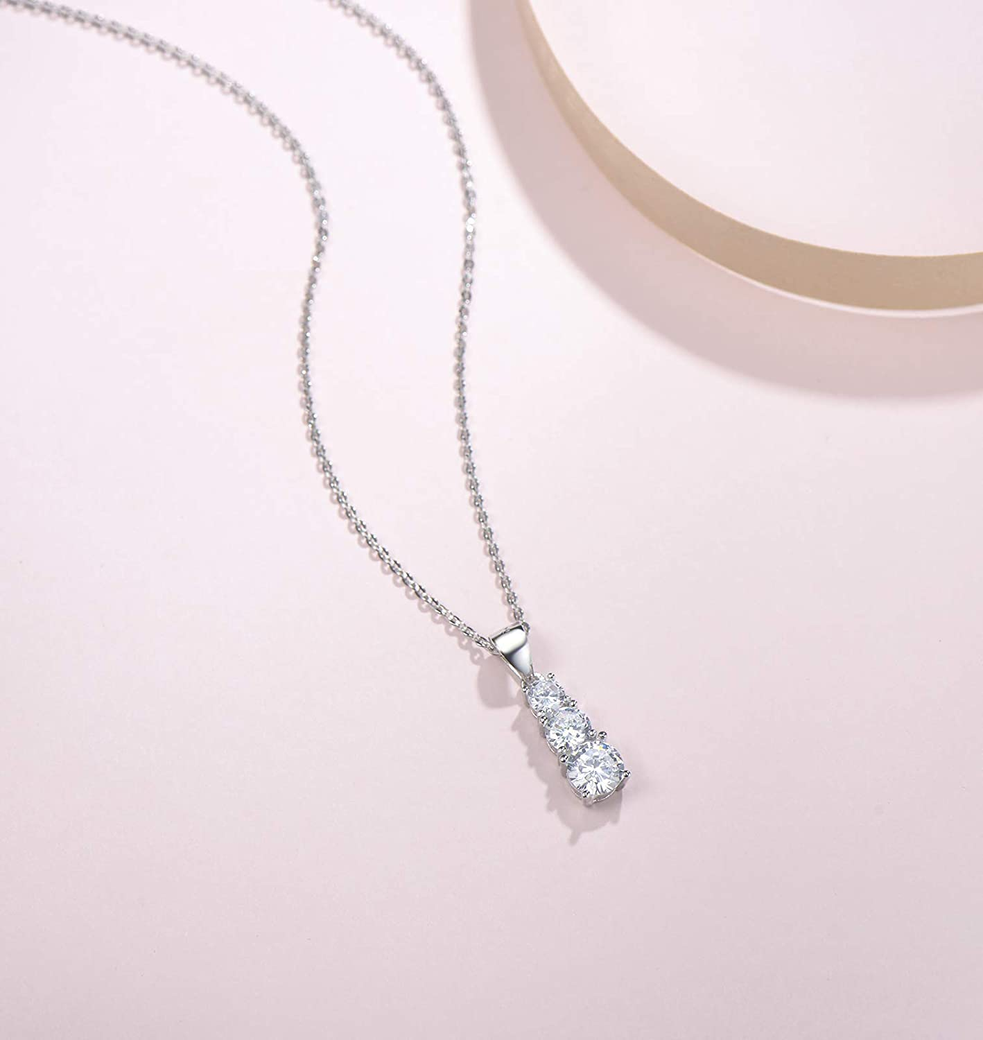 2 Extender FANCIME Rhodium Plated 925 Sterling Silver Round 3 Stone CZ Cubic Zirconia Dangle Pendant Wedding Bridal Bridesmaid Prom Necklace For Women Girls 16