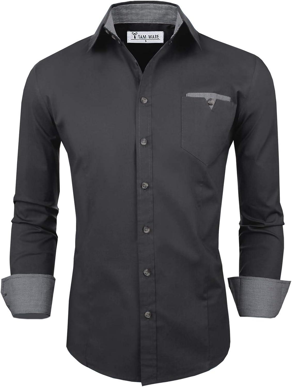 TAM WARE Camisa de manga larga para hombre con bolsillo ...