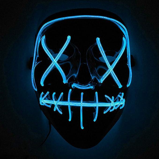 Mascara con luces led para disfraz de color azul