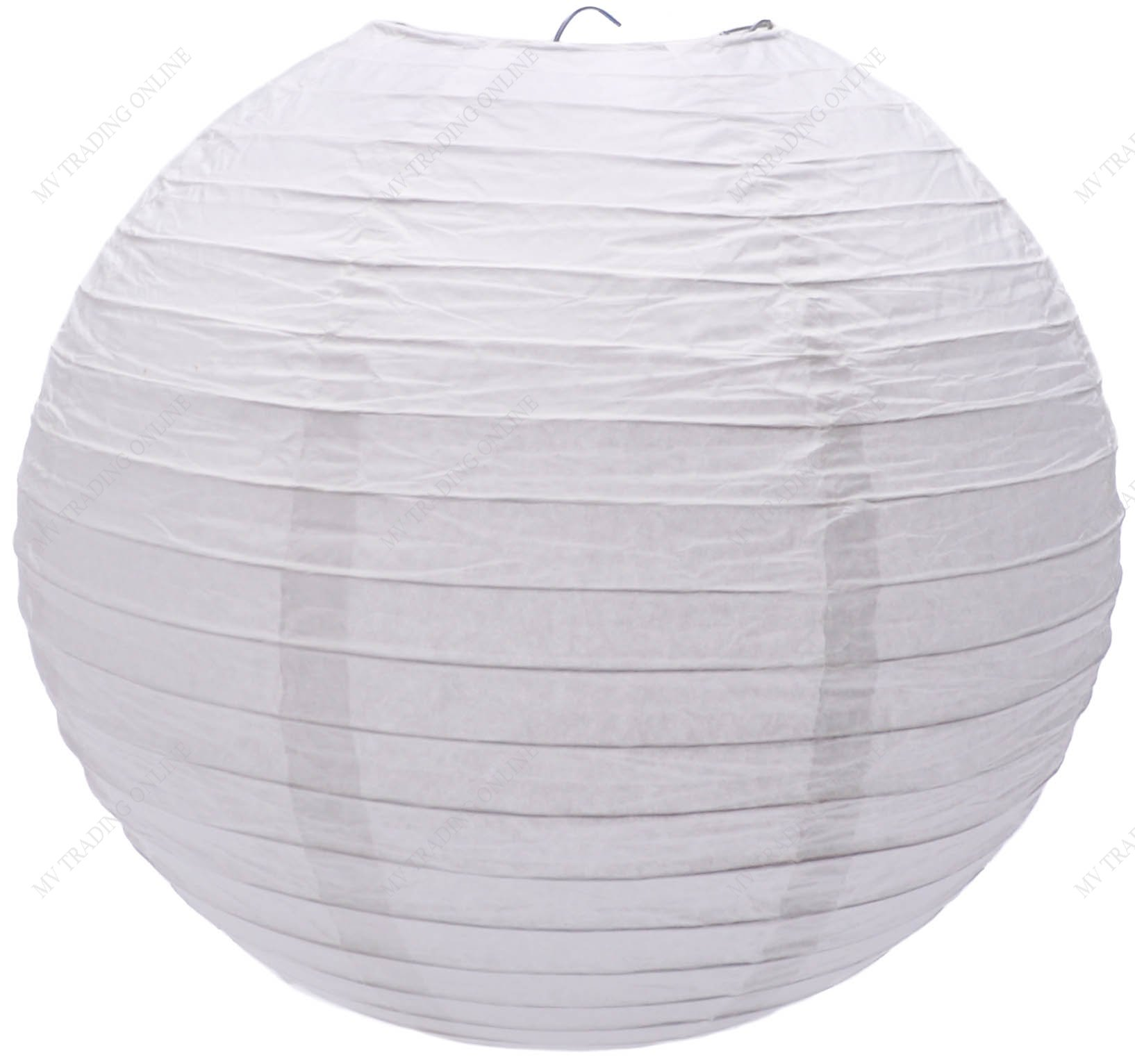 M.V. Trading LNT24ER-WH Colorful Chinese/Japanese Round Paper Lanterns with Metal Frame, 24-Inches, White