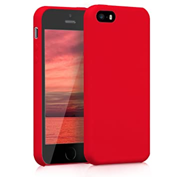 kwmobile Funda compatible con Apple iPhone SE / 5 / 5S - Carcasa de TPU para móvil - Cover trasero en rojo mate