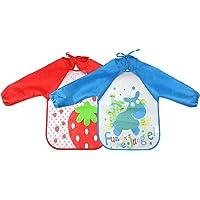 Isuper 2 Piezas Unisex Baberos Impermeables Delantales Infantiles Dibujos Animados Multicolor Niños Bebés