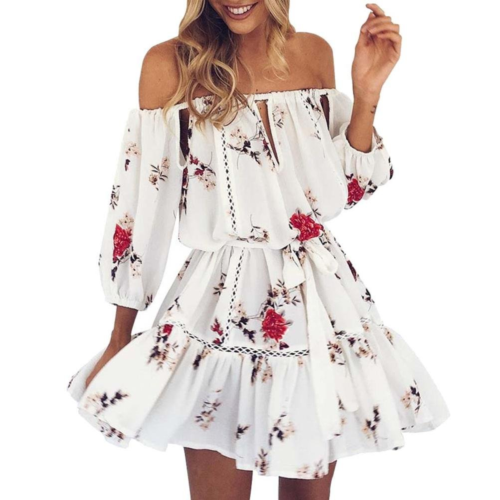Women Dress,Sunmoot Floral Dress Off Shoulder Sundress Mini Dress Bardot Style (M, White) by Sunmoot