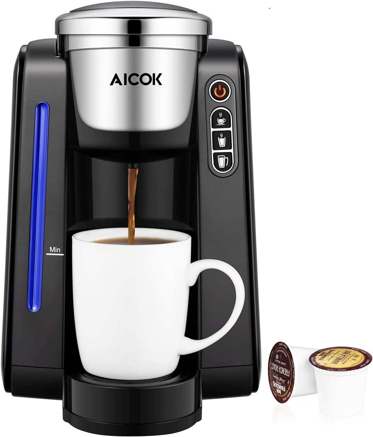 AICOK Single Serve Programmable Coffee Maker, 5 Brew Sizes One Cup Coffee Machine for Most Single Cup Pods Including 1.0&2.0 K-CUP pods, 45 OZ Large ...