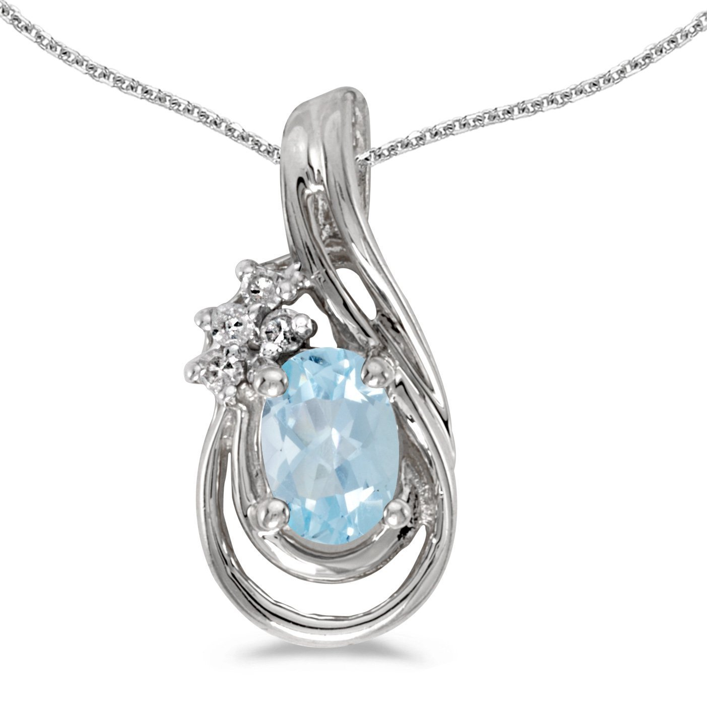 FB Jewels Solid 10k White Gold Genuine Birthstone Oval Gemstone And Diamond Teardrop Pendant 0.47 Cttw.