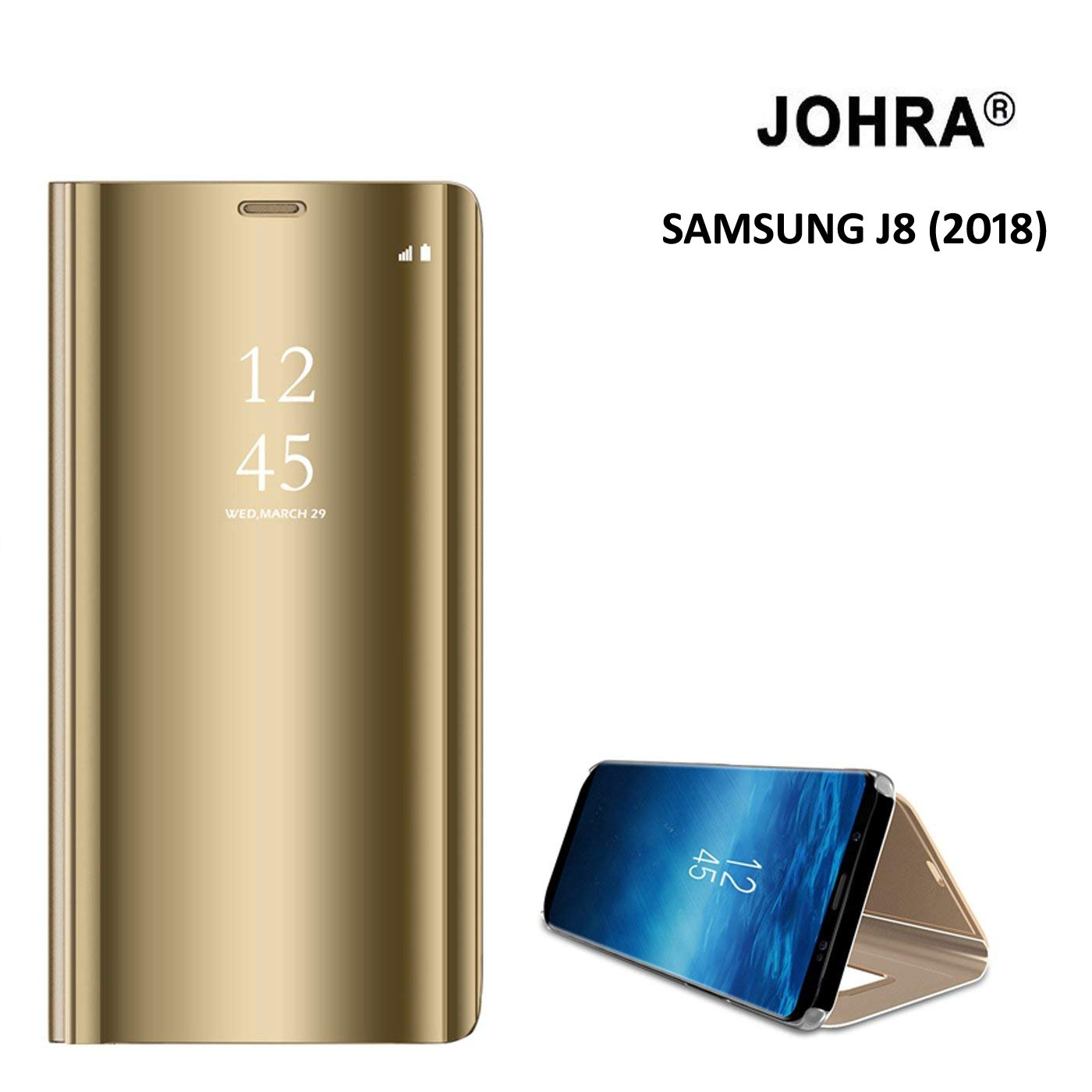 online store a0997 bbf8a Samsung J8 Flip Cover - Johra Luxury Clear View Electroplate Plating Mirror  Acrylic Full Body Protective Leather Gold Golden Flip Case Cover for ...